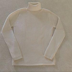 Old Navy Cream Wide Rib Cotton Turtleneck Sweater
